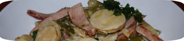 Kasslerpfanne mit Bohnen und Kartoffeln