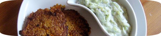 Couscous-Bratlinge mit Gurkensalat