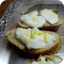 Baguette mit Mozzarella und Olivenöl