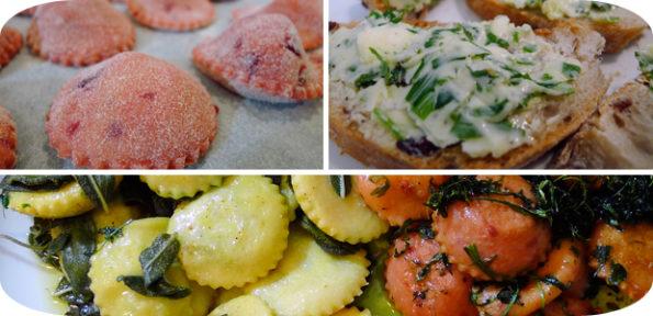 Rote Beete Ravioli mit Nuss Ricotta und Rucola Butter & Ravioli mit Salbeibutter