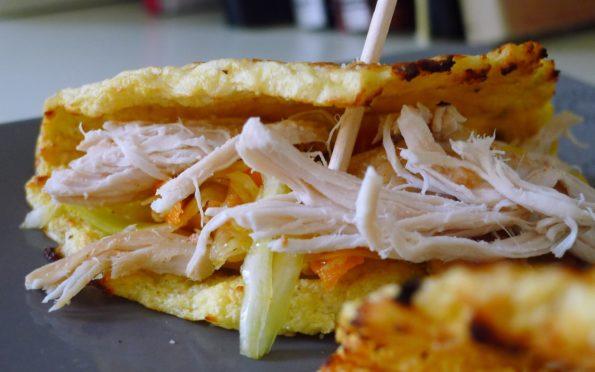 Blumenkohl Tortillas mit Pulled Chicken