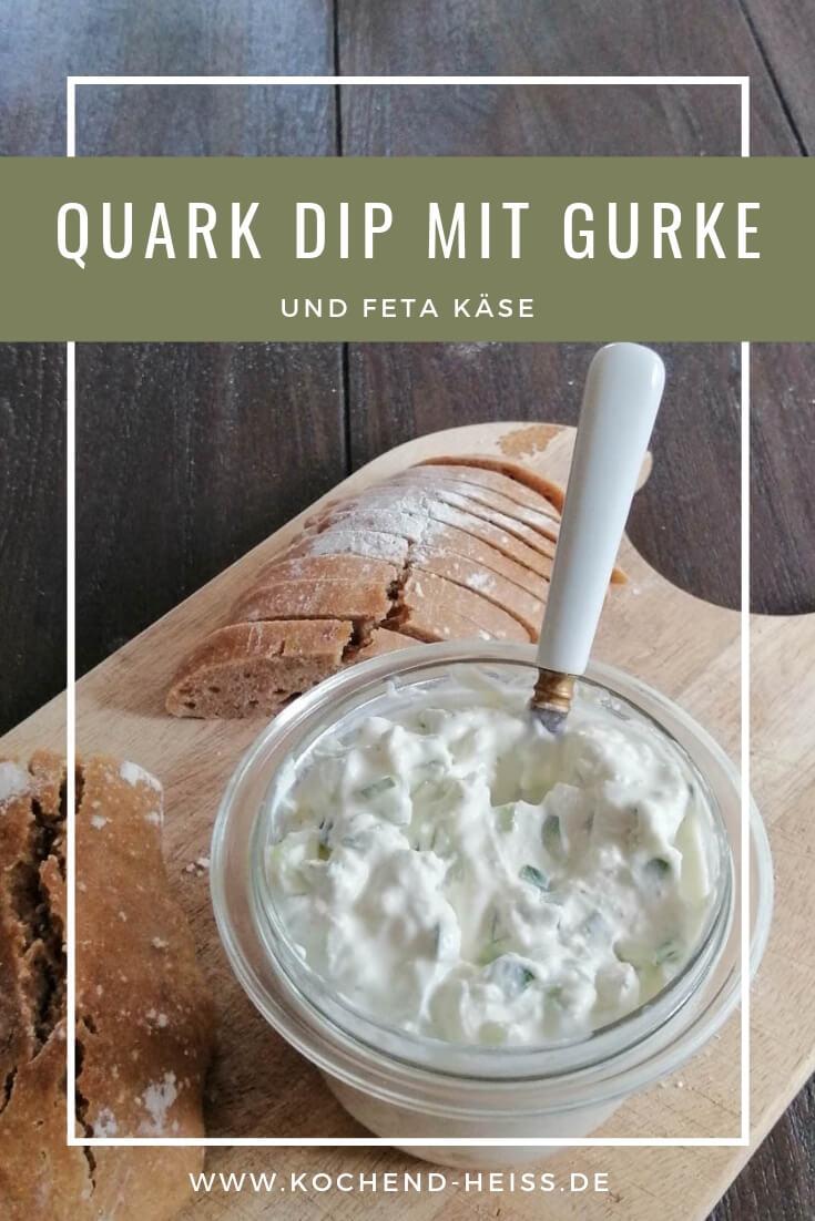 Quark Dip mit Gurke und Feta Pinterest