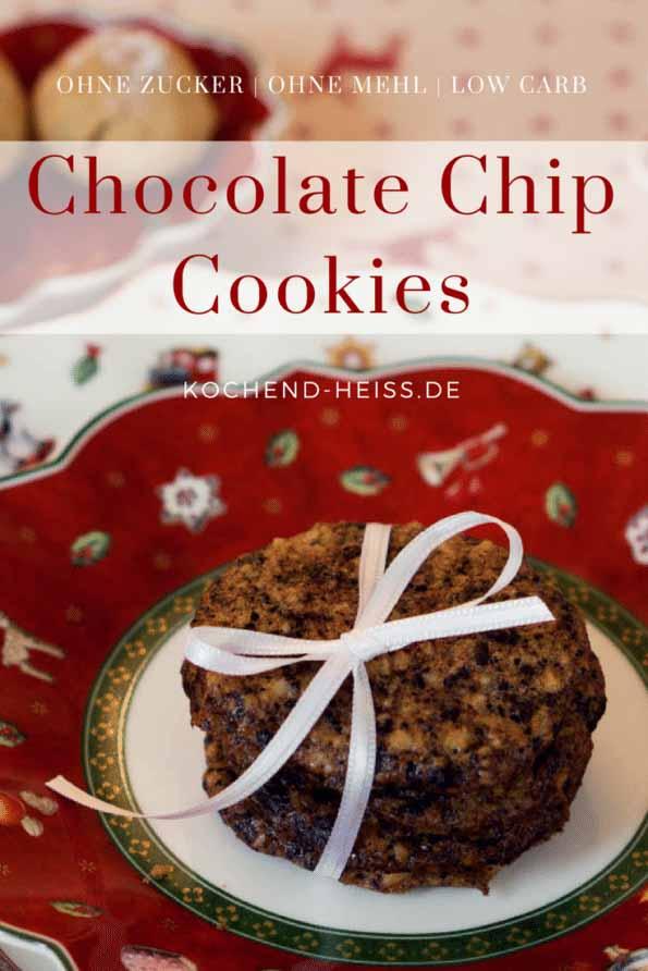 Chocolate Chip Cookies ohne Mehl & ohne Zucker