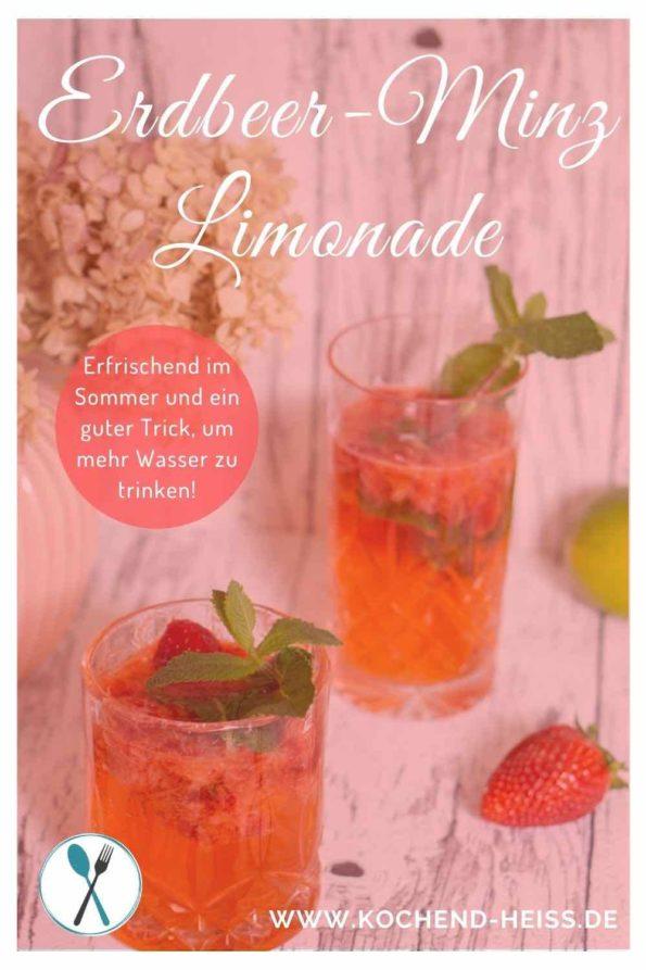 Erdbeer Minz Limonade im Sommer